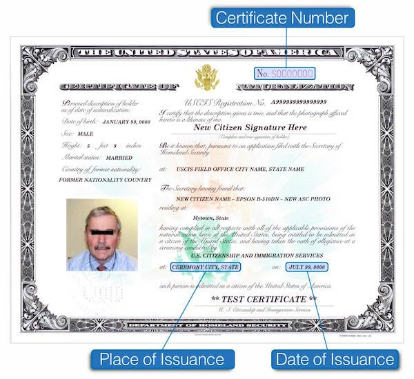 naturalization certificate number highlighted on certificate