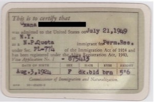 history of the green card, alien registration receipt card