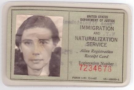 history alien registration receipt card