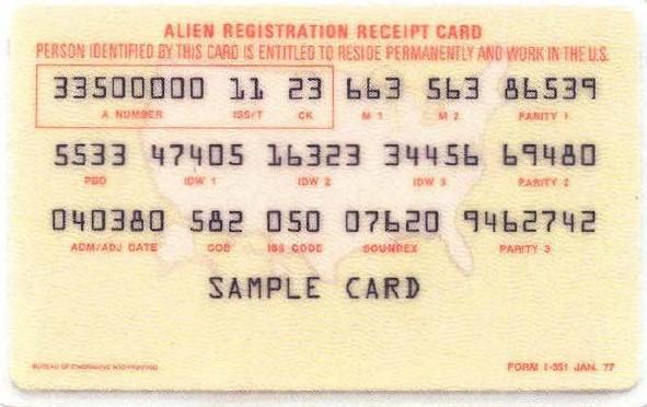 green card resident alien i-551