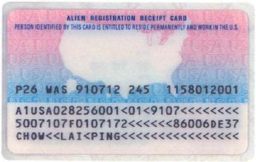 resident alien card 1989-1997 back, i-551