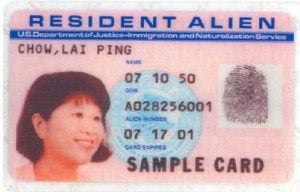 history of the green card resident alien i-551