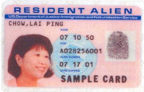 resident alien card 1989-1997, i-551