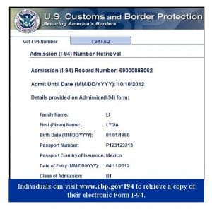 electronic i-94 arrival deparature record