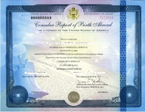 consular report of birth abroad sample