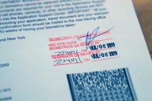 USCIS Biometrics Stamp