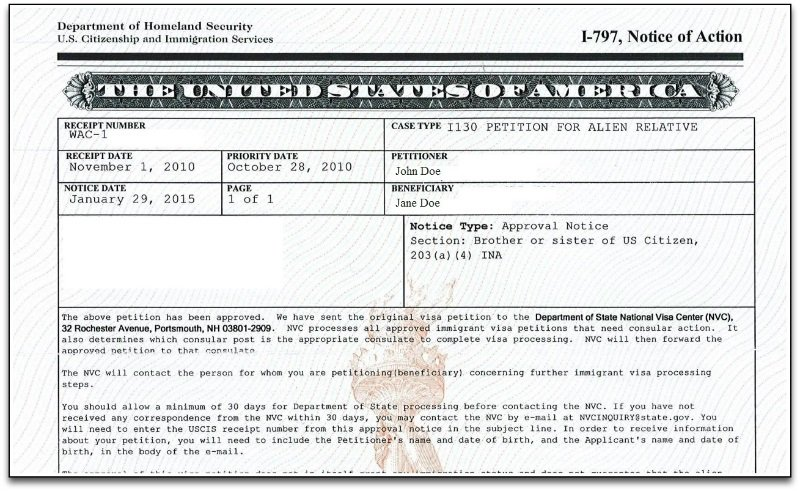 form i 797 notice of action approval notice