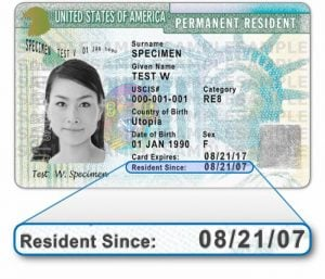 date of admission on green card