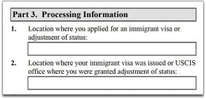 location where you applied for immigrant visa