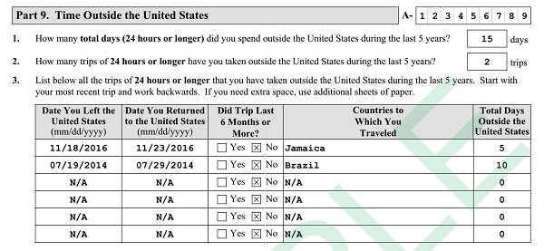 How to list time outside the United States on Form N-400