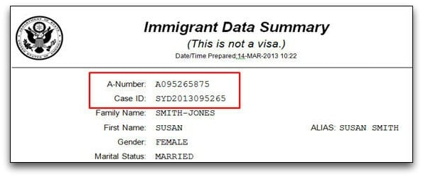 find alien registration number on immigrant data summary