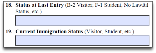 current immigration status question form i-765