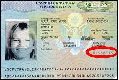 location of number on us visa