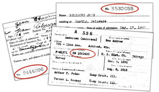 old law certificate number for naturalization