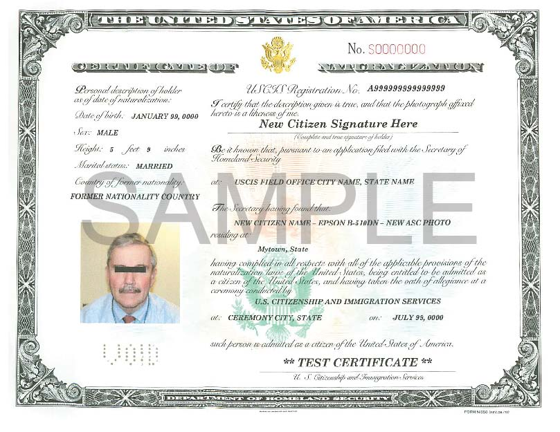 Certificate of Naturalization sample