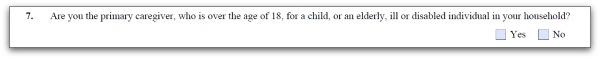 primary caregiver question screenshot from Form I-944