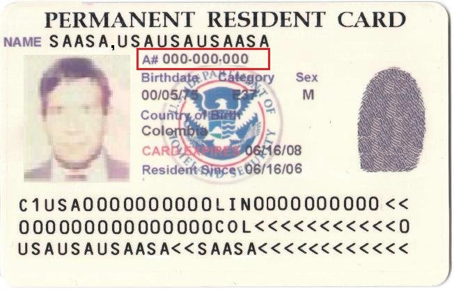alien number on a green card issued between 2004-2010