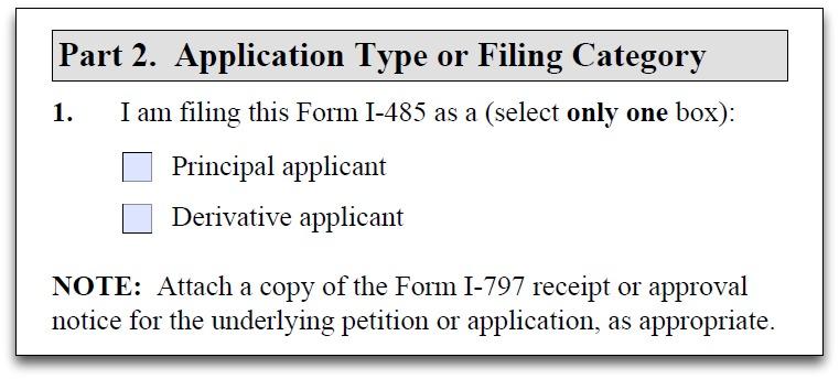principal applicant and derivative applicant question on Form I-485