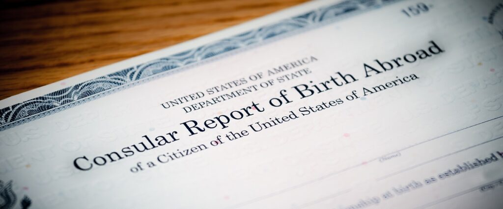 Consular Report of Birth Abroad showing acquired US citizenship from parents to child