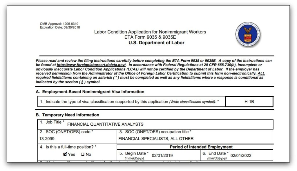 Labor Condition Application Sample