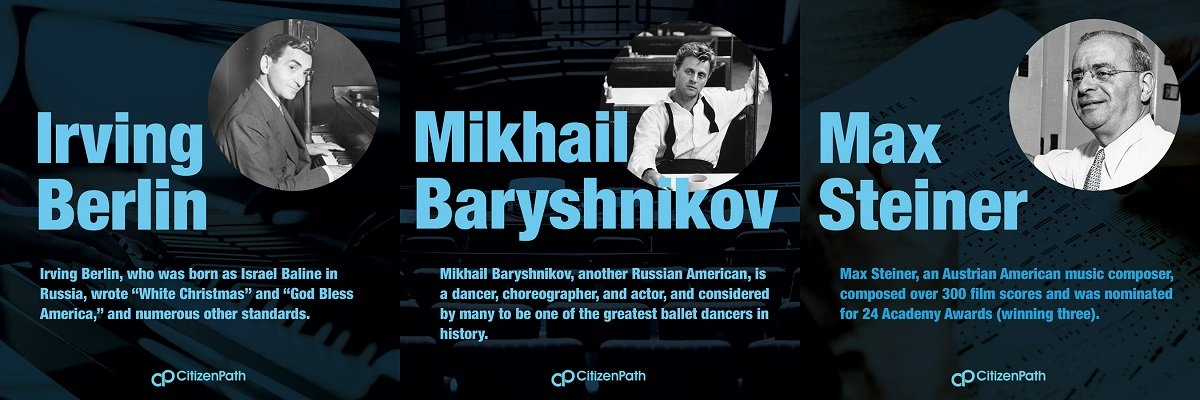 Immigrant artistic contributor: Mikhail Baryshnikov, a Russian American, is a dance, choreographer, and actor, and considered by many to be one of the greatest ballet dancers in history.