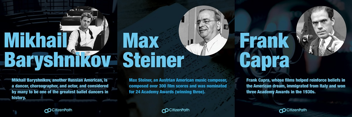 Immigrant artistic contributor: Max Steiner, an Austrian American music composer, composed over 300 film scores and was nominated for 24 Academy Awards (winning three).