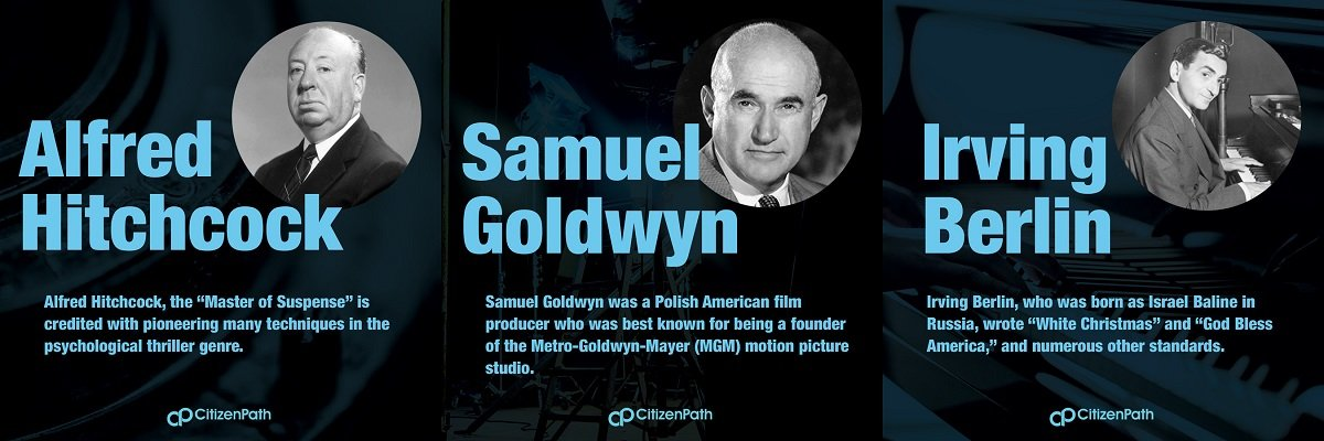 Immigrant artistic contributor: Samuel Goldwyn was a Polish American film producer who was best known for being a founder of the Metro-Goldwyn-Mayer (MGM) motion picture studio.