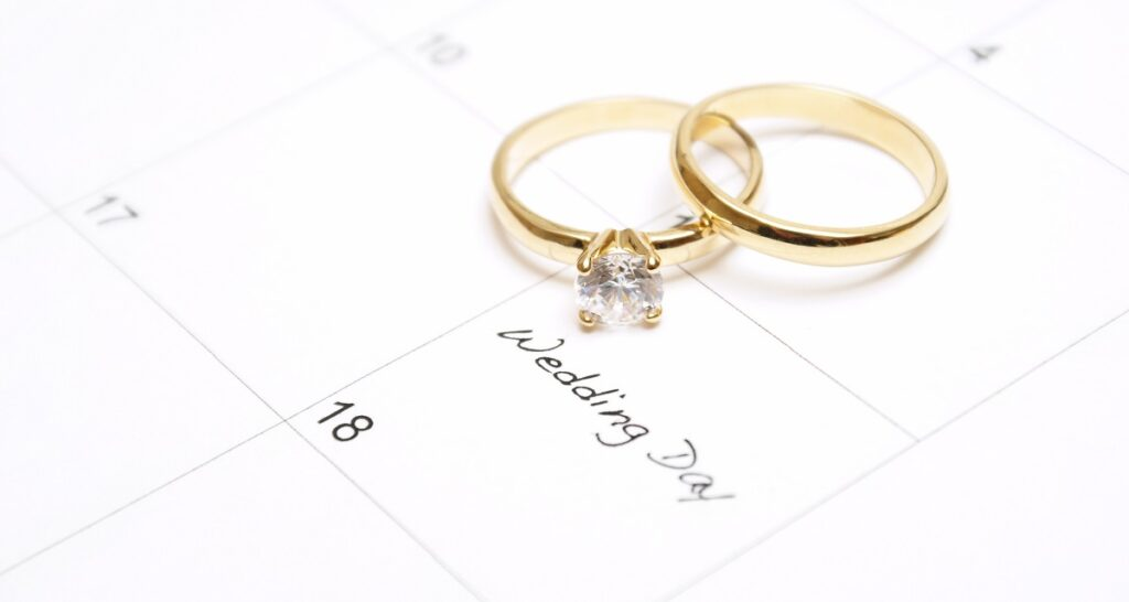 Wedding rings sit on a calendar and k-1 visa vs marriage visa