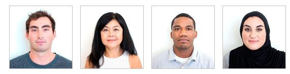 Examples of passport-style photos for a visa petition
