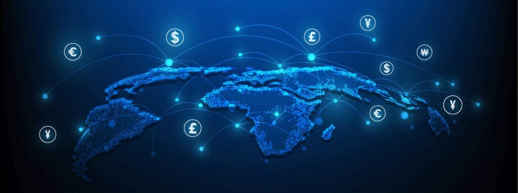 Abstract of global remittance market and multiple denominations