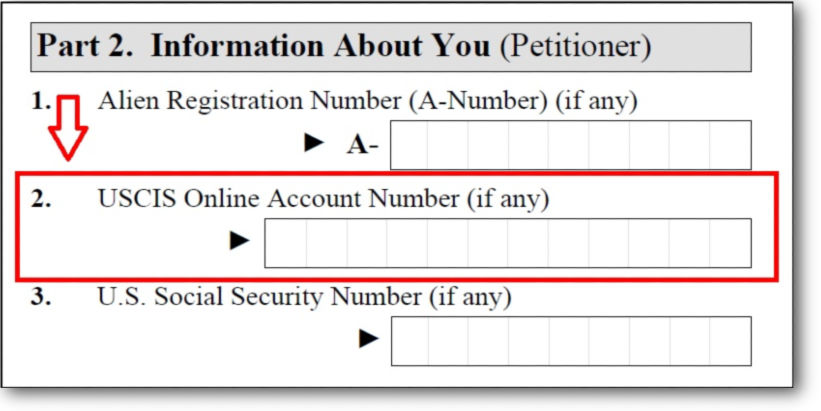 Example of a USCIS online account number on Form I-130